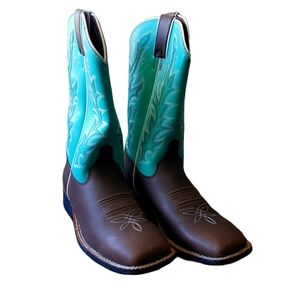 Justin Turquoise Western Cowgirl Boots Size 4D
